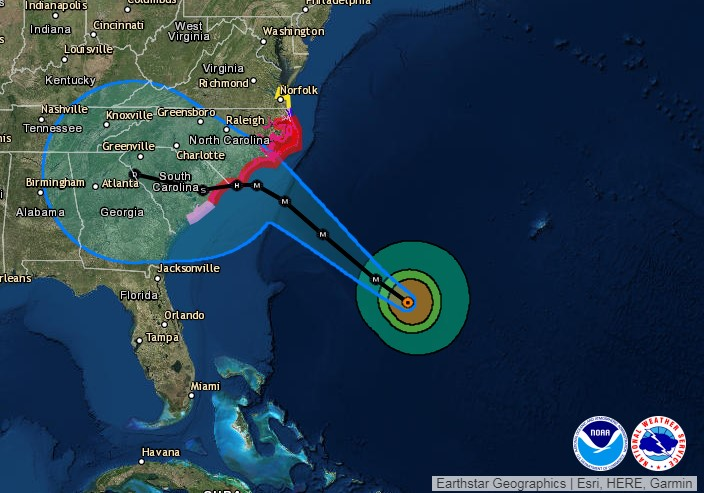 Projections Hurricane Florence's path as of 8 a.m. (ET) on Sept. 12. Screen capture from National Hurricane Center.