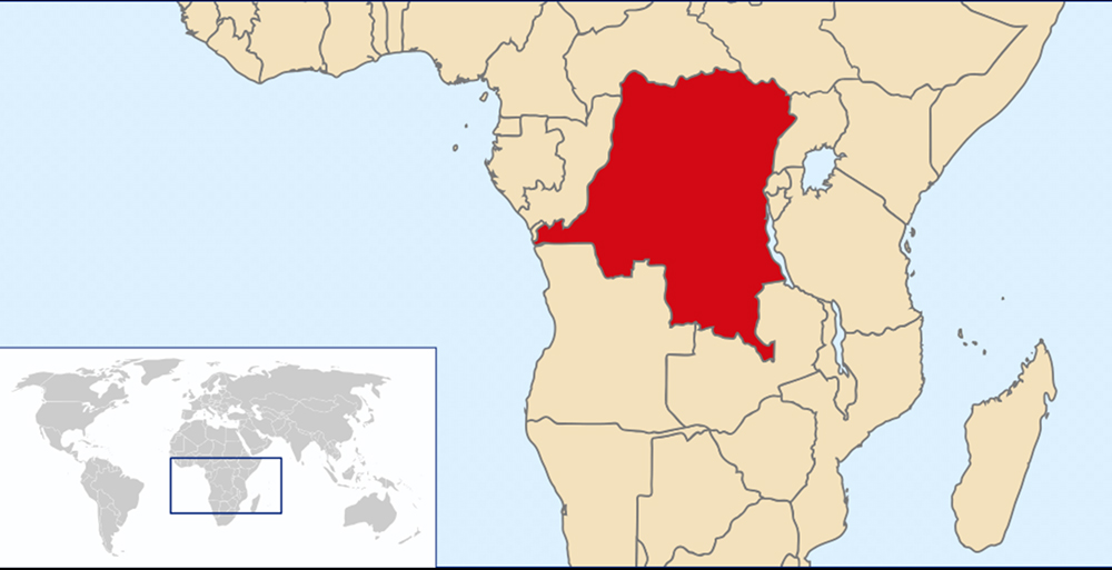 The Democratic Republic of Congo in central Africa. Map courtesy of Creative Commons
