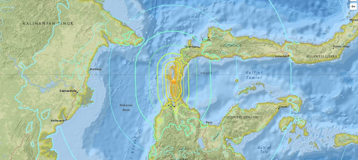 Map of the September 28, 2018 Palu, Indonesia earthquake (USGS)