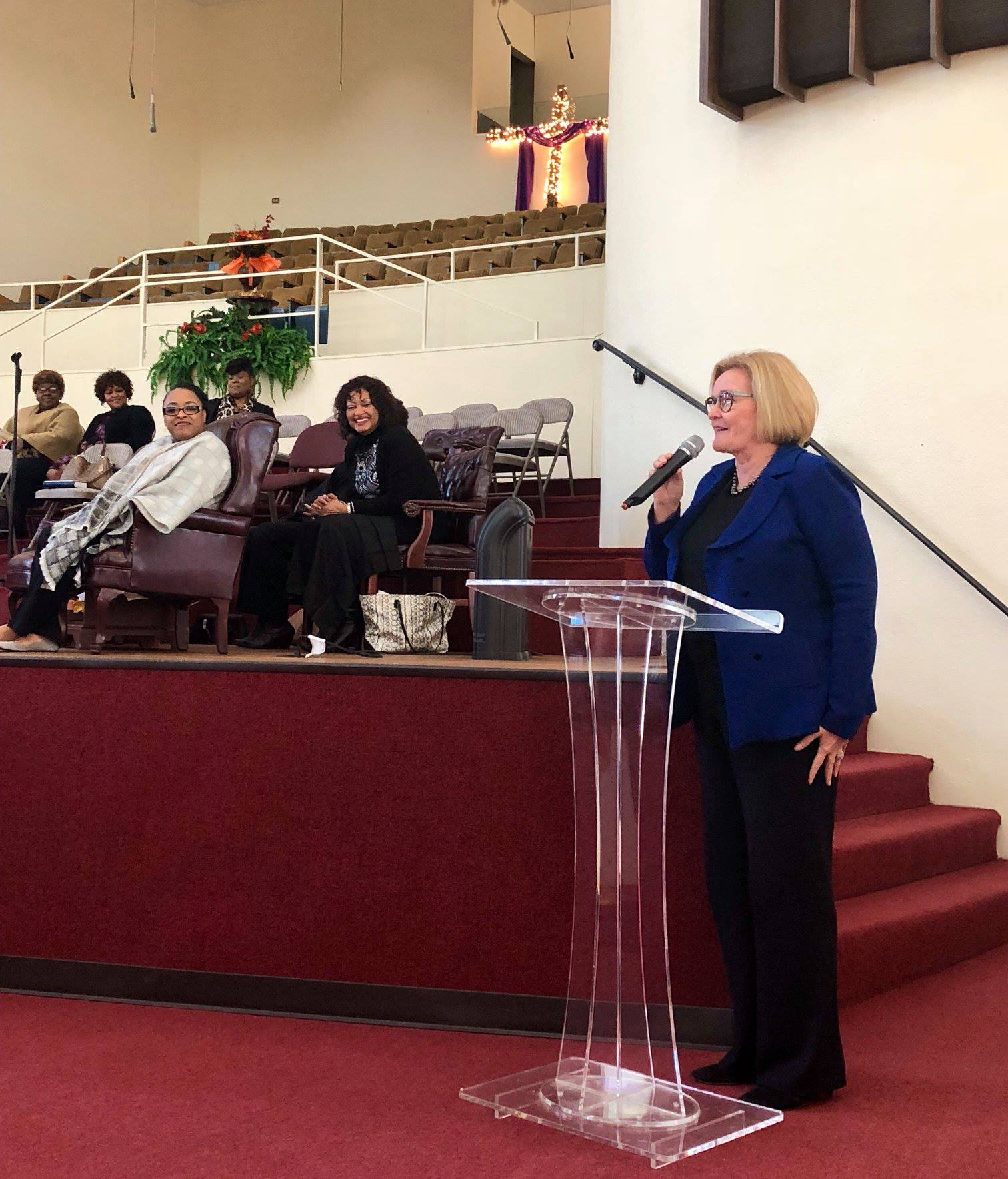 Senator Claire McCaskill speaks at Zion Grove Missionary Baptist Church on Oct. 21. (Screen capture from social media)