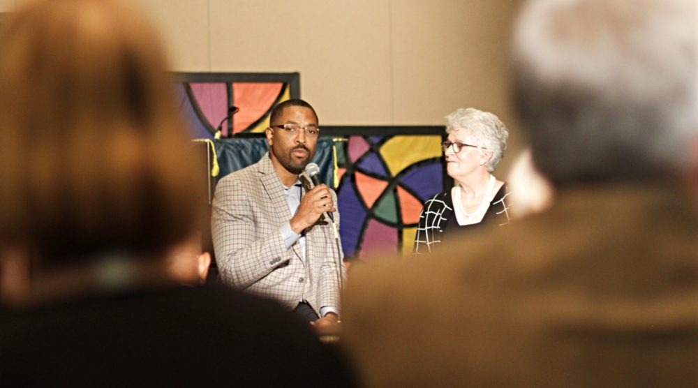 "Corey Walker and Linda McKinnish Bridges share about their ""covenant of action"" at the New Baptist Covenant 2018 summit. (Photo: EthicsDaily.com)"