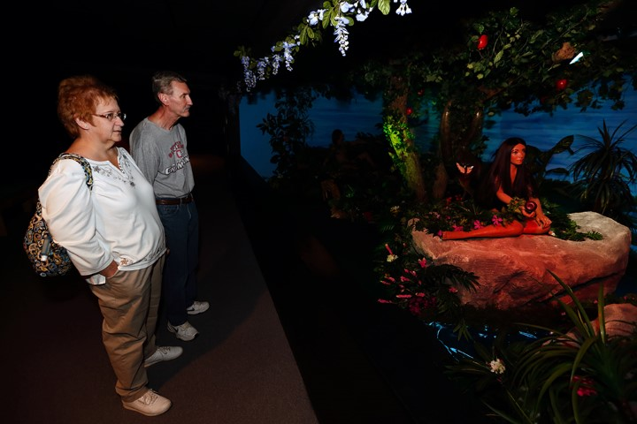 Ann Nelson and her husband Tim, of Hilliard, Ohio, view the Adam and Eve display during a tour at BibleWalk, in Mansfield, Ohio, on Sept. 28, 2018. RNS photo by Paul Vernon