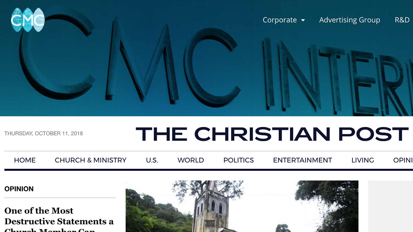 Homepage of Christian Media Corp., the parent firm of The Christian Post. Screenshot