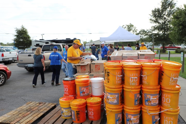 A Southern Baptist Disaster Relief team with the Baptist General Association of Virginia prepared meals that American Red Cross and The Salvation Army delivered.