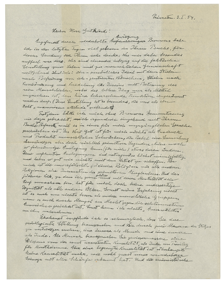 Albert Einstein's 1954 letter to philosopher Eric Gutkind will be auctioned on Dec. 4, 2018. Photo courtesy of Christie's