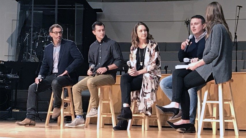 A panel discusses foster care and adoption at a rally organized by the Baptist General Convention of Oklahoma and hosted by the First Baptist Church of Edmond, Okla., north of Oklahoma City, on Nov. 13, 2018. Panelists include Alex Himaya, from left, Cody Brumley, Breanna Brumley and Charlie Blount. The moderator was Amy Cordova, far right. RNS photo by Bobby Ross Jr.