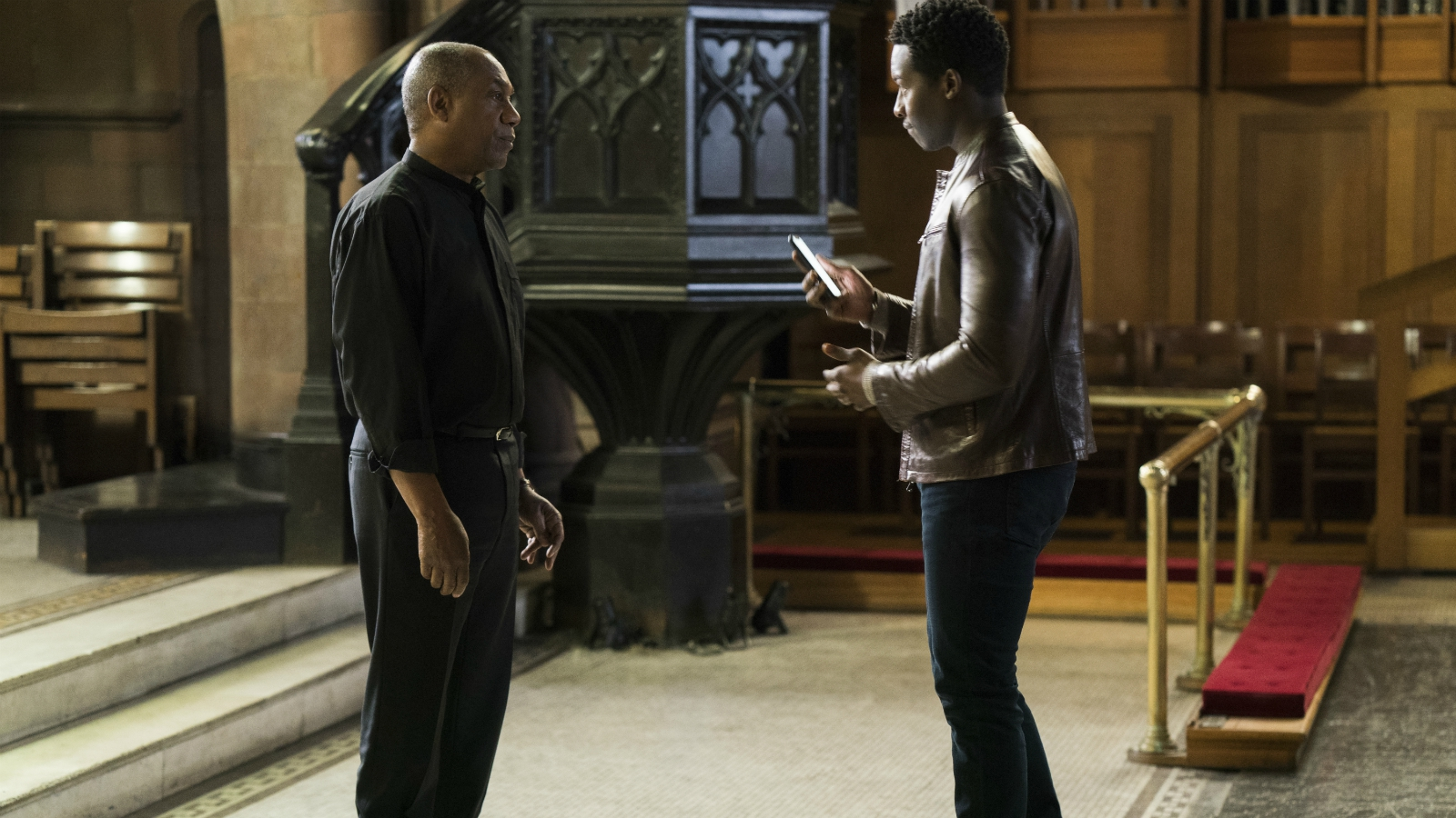 """Joe Morton, left, and Brandon Micheal Hall star in """"God Friended Me,"""" in which Hall's character, Miles Finer — the atheist son of an Episcopal priest, played by Morton — receives a friend request from God on social media. Photo courtesy of Jonathan Wenk/CBS Broadcasting Inc."""