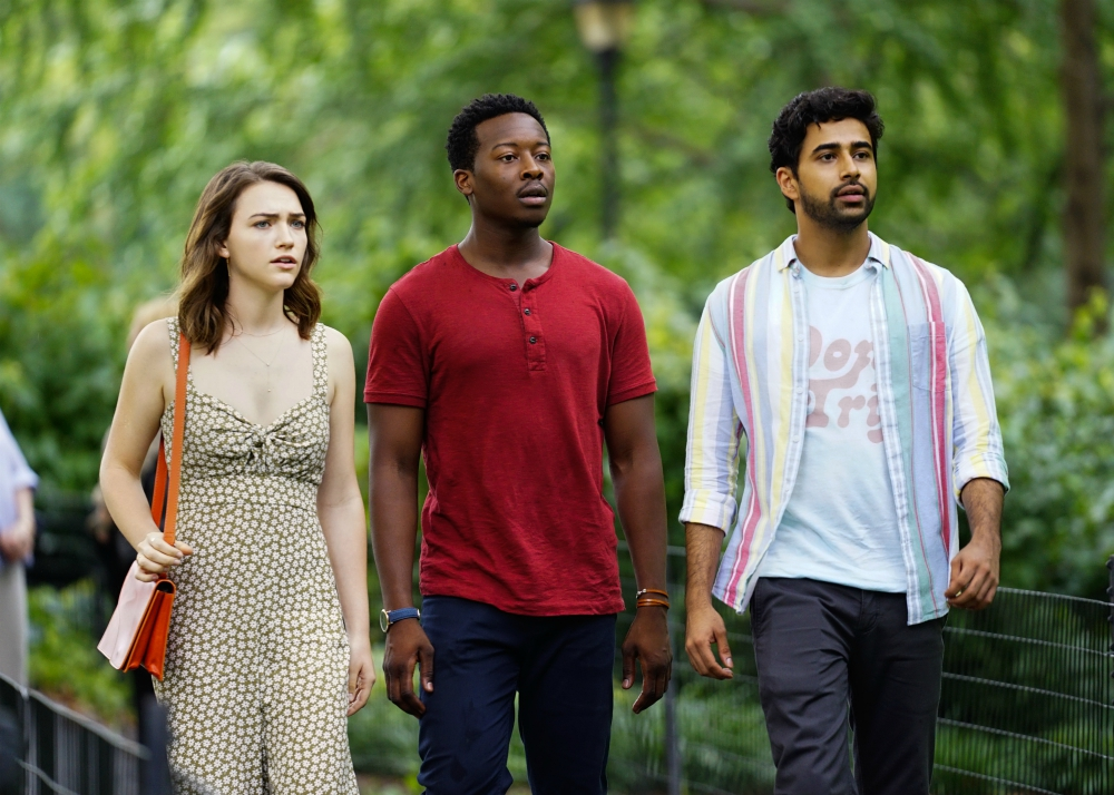 """From left to right: Violett Beane as Cara Bloom, Brandon Micheal Hall as Miles Finer and Suraj Sharma as Rakesh Singh appear in an episode of """"God Friended Me."""" Photo courtesy of Michele Crowe/CBS Broadcasting Inc."""