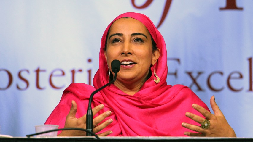 "Najeeba Syeed, associate professor of interreligious education and senior adviser for Muslim relations at the Claremont School of Theology, speaks on a plenary panel titled ""The Public Religion Scholar in a Social Media Age: Risks, Rewards, Reverberations"" on Nov. 19, 2018, at the American Academy of Religion annual meeting in Denver. RNS photo by Emily McFarlan Miller"