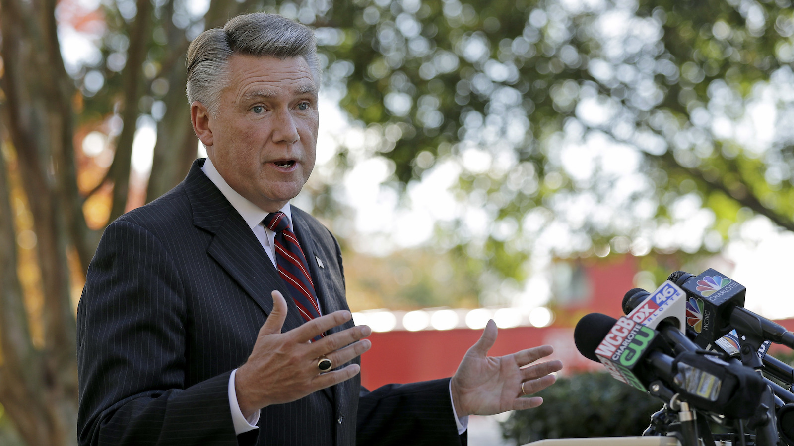 Mark Harris speaks to the media during a news conference in Matthews, N.C., on Nov. 7, 2018. Harris is leading Dan McCready for the 9th Congressional District in a race that is still too close to call. (AP Photo/Chuck Burton)
