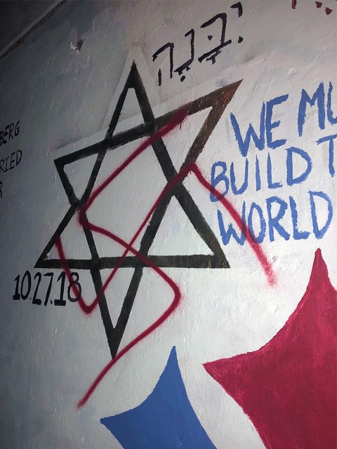 A Star of David that is part of a tribute mural was vandalized with a swastika on the campus of Duke University in Durham, N.C. Photo by Olivia Levine via Facebook