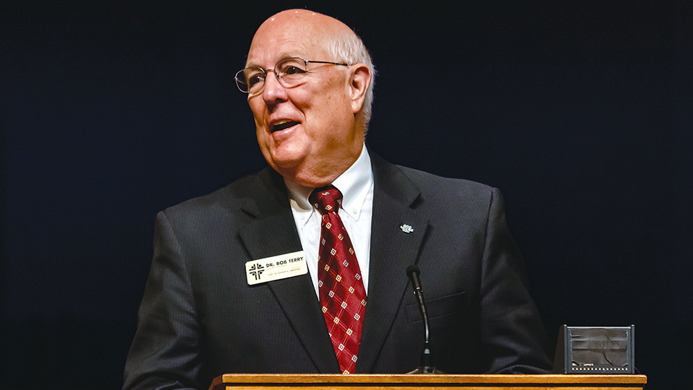 Bob Terry delivers his final report to messengers during the Alabama Baptist State Convention annual meeting on Nov. 13, 2018, at First Baptist Church in Trussville, Ala. Photo by Tracy Riggs/The Alabama Baptist