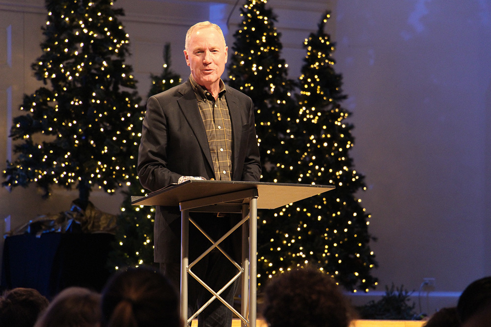 Max Lucado speaks at Wheaton College on Dec. 13, 2018, during a summit on sexual abuse and misconduct. RNS photo by Emily McFarlan Miller