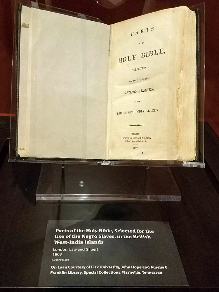 The Slave Bible exhibit at the Museum of the Bible features a version of the holy book specifically printed for converting slaves to Christianity. RNS photo by Adelle M. Banks