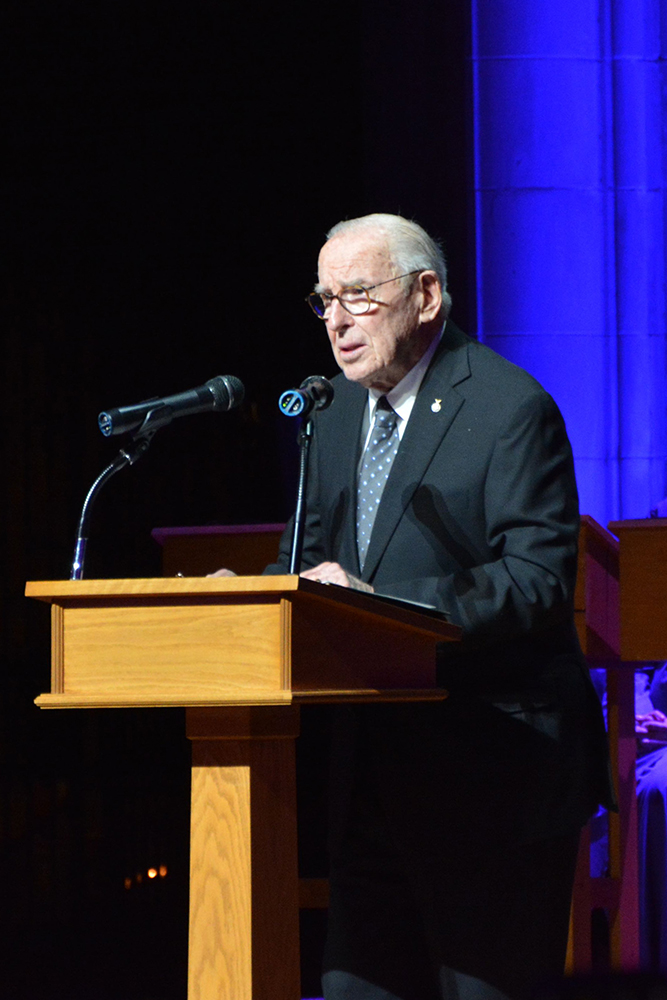 Apollo 8 astronaut Jim Lovell speaks during an event commemorating the 50th anniversary of his 1968 space mission at the Washington National Cathedral. RNS photo by Jack Jenkins