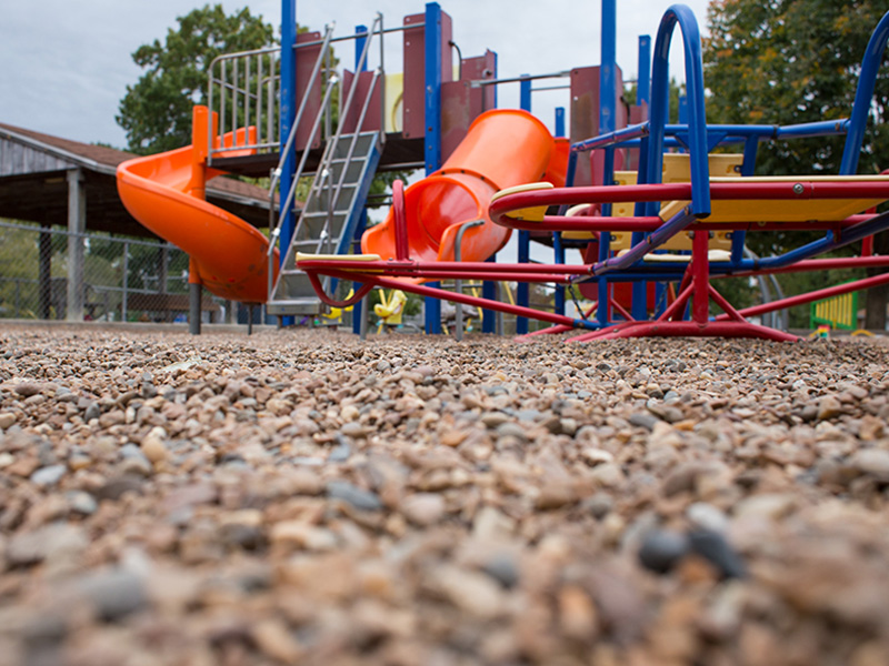 Gravel paves the playground of Trinity Lutheran Church's Child Learning Center in Columbia, Mo., on Oct. 18, 2016. (RNS photo by Sally Morrow)