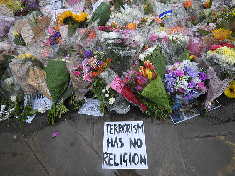 Floral tributes near the scene of the recent attack at London Bridge and Borough Market, in central London, on June 6, 2017. Photo courtesy of Reuters/Toby Melville