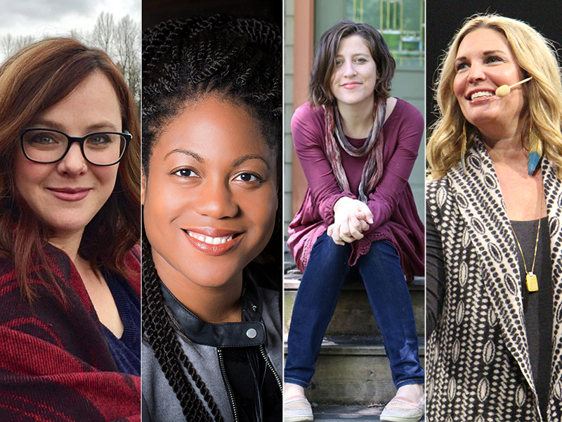 Influential women in the Christian blogosphere include Sarah Bessey, left, Austin Channing Brown, Tish Harrison Warren, and Jen Hatmaker.