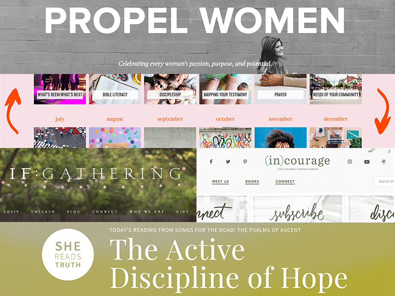 Some of the popular Christian  ministries targeted toward women that are available online.