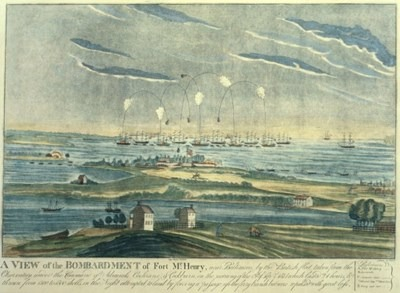 "In 1814, Francis Scott Key wrote the poem ""Defense of Fort M'Henry"" after watching the all-night bombardment of Baltimore's Fort McHenry from a British ship during the War of 1812. The poem was later set to music and became the country's national anthem more than a century later."