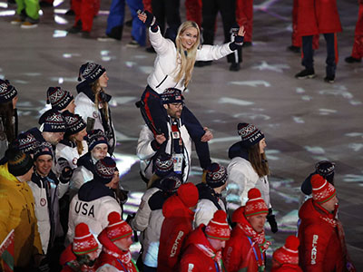 U.S. Olympic athletes celebrate Feb. 25 during the closing ceremony in Pyeongchang, South Korea.