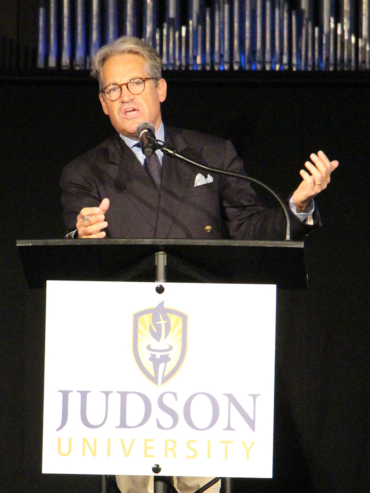 Eric Metaxas at Judson University on Sept. 26, 2018. RNS photo by Emily McFarlan Miller