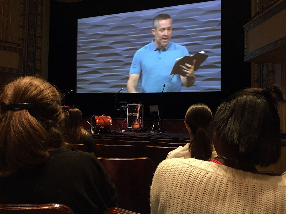 J.D. Greear's sermon is livestreamed to the Carolina Theatre in Durham. RNS photo by Yonat Shimron