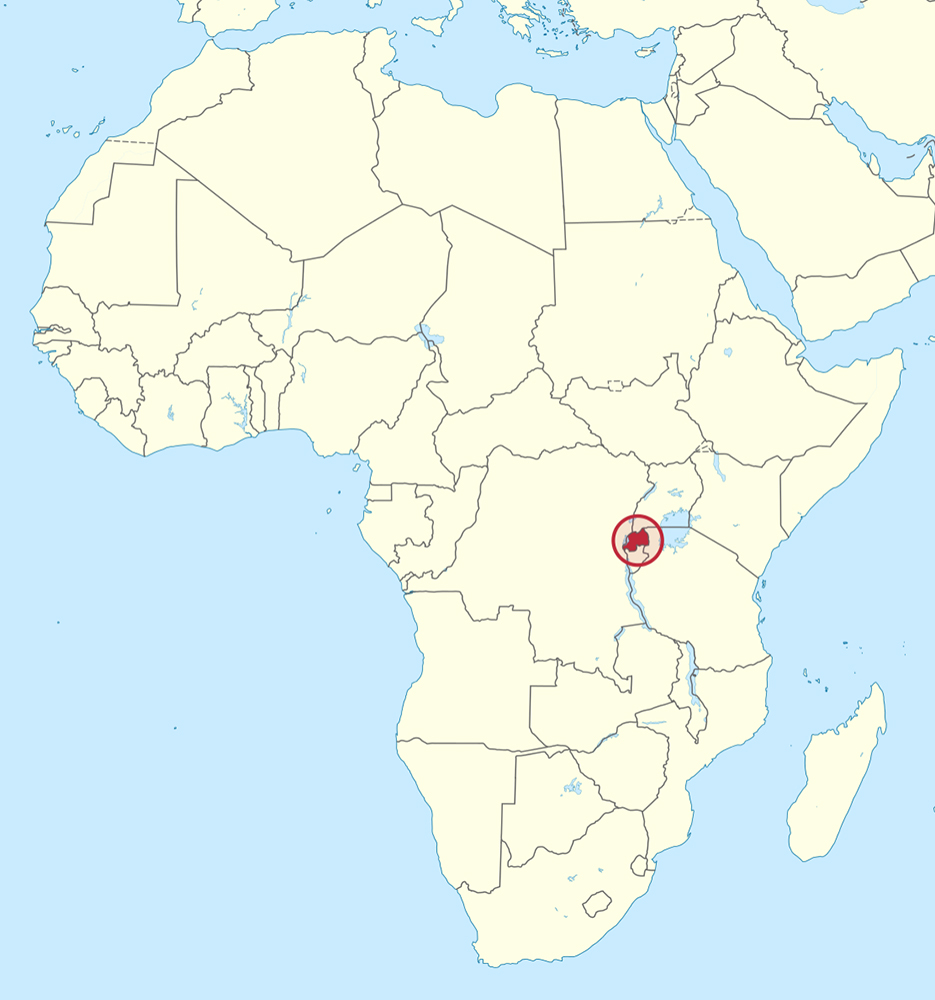 Rwanda, circled in red, in central Africa. Map courtesy of Creative Commons