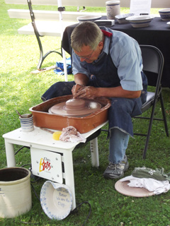 Ceramic artist Jay Stockham of Ashland, Mo., creates pottery and shares his Potter's Parables during a demonstration at the First Baptist Church, La Plata, Mo., 175th anniversary July 4-5. (First Baptist Church photo)