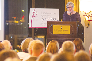 Molly Marshall responds to various expressions of appreciation at a Nov. 12 event in Kansas City, Mo., celebrating her 10th an-niversary at the helm of Central Baptist Theological Seminary in Shawnee, Kan. (Francisco Litardo)