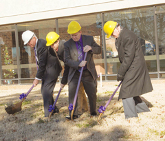 (l to r) SBU President Dr. C Pat Taylor; Aaron Sloan, SBU Student Association vice president; Dr. Troy Bethards, dean of the Robert W. Plaster College of Business and Computer Science; and SBU Trustee Wayne Hutchins break ground on a project to expand and renovate SBU's Gene Taylor National Free Enterprise Center. (SBU)