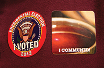 Stickers used to note Election Day Communion for the 2012 presidential election.