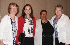 From left, Sandi McKee, president of American Baptist Women,Great Rivers Region Area V; Sharon Koh, executive director of American Baptist International Ministries; Muriel Johnson, ABC Great Rivers Area V minister; and Lori Hill, president of American Baptist Women of the region pose during the annual gathering. (Linda Ricks/ABC-GRR)
