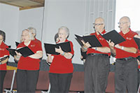 Members of Saints Alive, senior adult choir from South Haven Baptist Church in Springfield, Mo., bring spirited special music Oct. 6-8 during the Fall Adult Retreat at Windermere Baptist Conference Center. (Bill Webb)