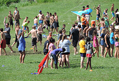 Young people from Battle Creek Baptist Church of Tulsa, Okla., participate in a recreational event at Windermere Baptist Conference Center. The church has brought a group annually  for several years and has found the setting to be ideal for evangelistic efforts. They turn the marina cove at Windermere into a baptism site for the youth. (Windermere)
