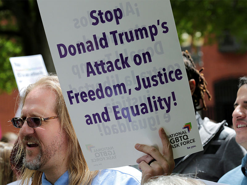 LGBT groups rally to oppose the religious freedom executive order that President Trump is expected to sign, outside the White House in Washington, D.C, on May 3, 2017. Photo courtesy of Reuters/Yuri Gripas