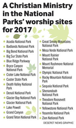 A Christian Ministry in the National Parks' worship sites for 2017. Graphic courtesy of the Deseret News/Aaron Thorup
