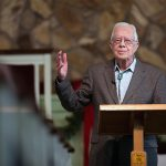 Former President Jimmy Carter teaches during Sunday school class at Maranatha Baptist Church in Plains, Ga., on Dec. 13, 2015. (AP Photo/Branden Camp)
