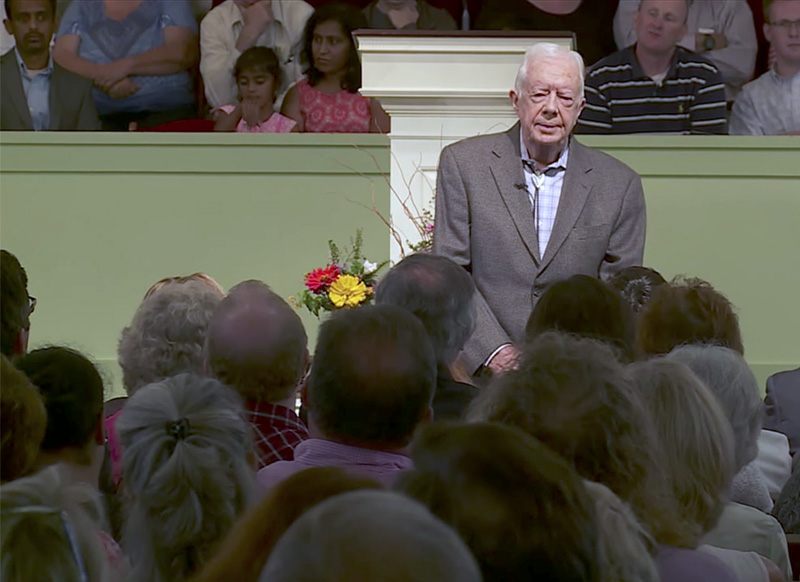 Former President Jimmy Carter teaches during Sunday school class at Maranatha Baptist Church in Plains, Ga. Screenshot from YouTube