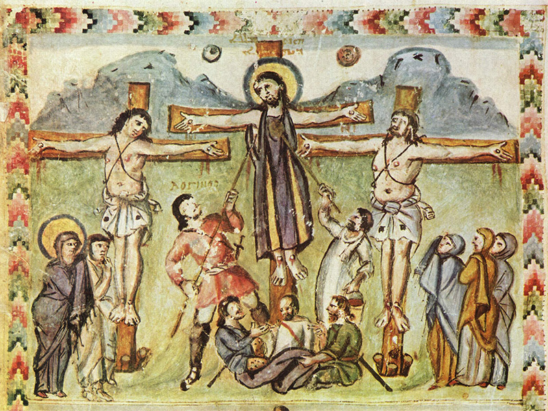 An early crucifixion depiction in an illuminated manuscript, from the Syriac Rabbula Gospels from 586 CE, shows both the sun and moon in the sky behind Christ. Image courtesy of Creative Commons