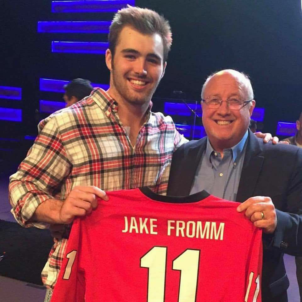 When Southside Baptist Church recently celebrated Jerry Walls' 30th anniversary as pastor, Jake Fromm presented him with a Georgia jersey. (Submitted photo)