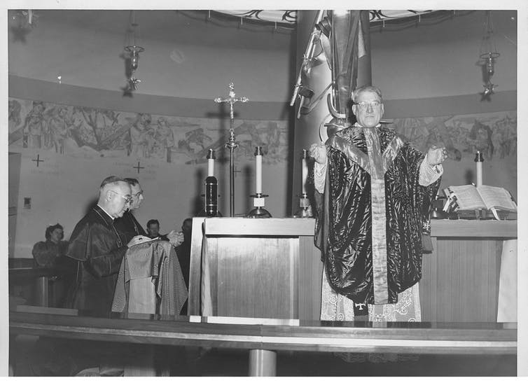 Dedication of Our Lady of the Airways Chapel, in its first location at Logan airport, in Boston. Archive, Archdiocese of Boston, CC BY-NC-ND