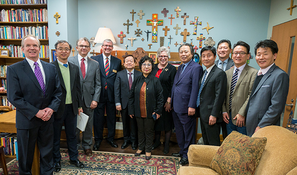 Representatives of Calvin University in South Korea visited the campus of Central Seminary in Shawnee, Kan. A memorandum of understanding was signed as they sought ways to work together. (Photo: Central Seminary)