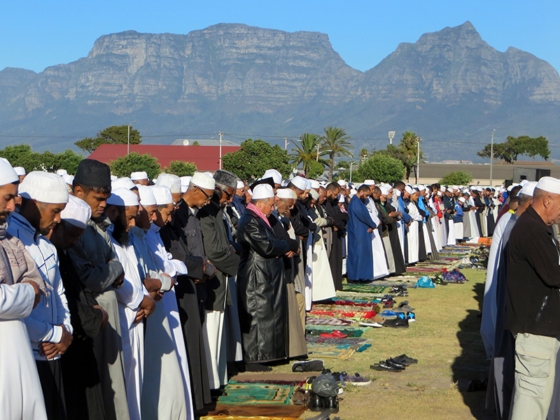More than 1,000 Muslims from multiple mosques gather in an early morning prayer for rain at the Rylands sports complex in Athlone, Cape Town, South Africa, on Feb. 4, 2018. RNS photo by Brian Pellot