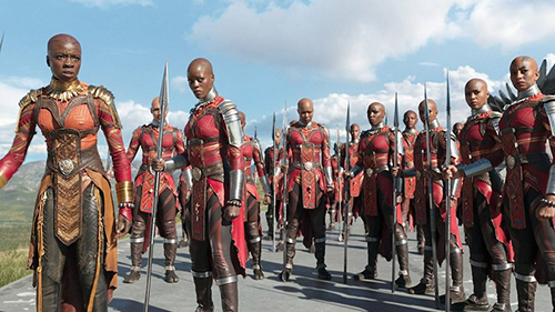 Members of the Dora Milaje, elite personal bodyguards of the Black Panther, in a scene from the movie. Photo courtesy of Marvel Studios