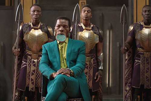 A scene featuring a lip plate in Black Panther. Photo courtesy of Marvel Studios