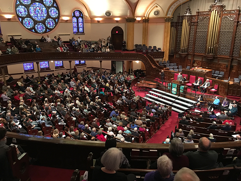 A large fundraiser for the interfaith Downtown Congregations to End Homelessness' emergency rental assistance program is held at Westminster Presbyterian Church on Jan. 28, 2018, in Minneapolis. The initiative was supported by the Minnesota Super Bowl Host Committee. (Photo: Dan Collison)