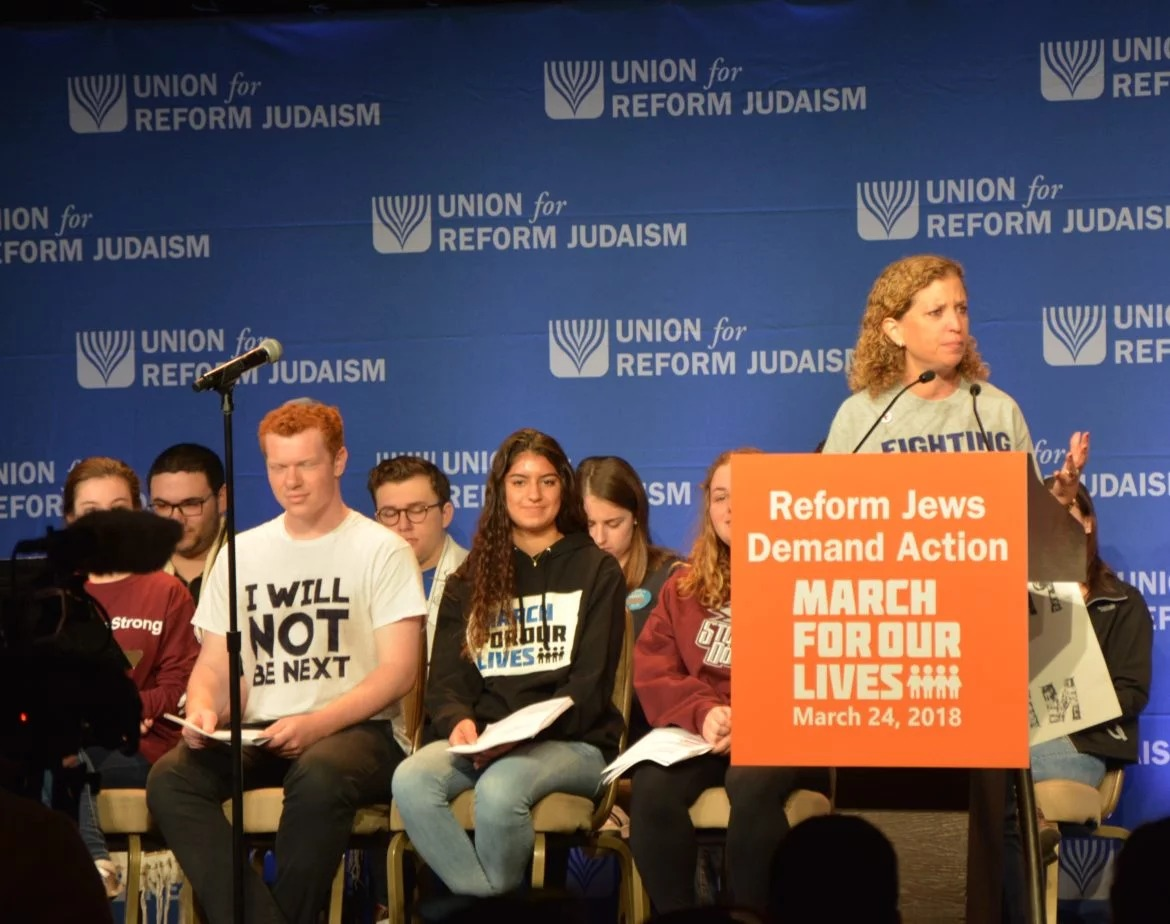 Congresswoman Debbie Wasserman Schultz (D-FL) addresses a gathering of Reform Jews the morning of the March for Our Lives protest in Washington, DC on March 24, 2018. RNS photo by Jack Jenkins.