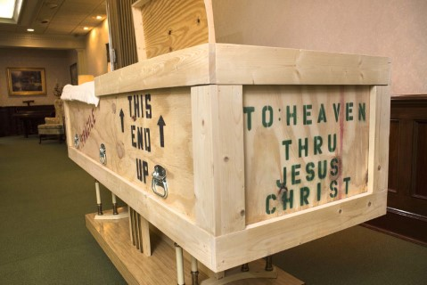 Retired Southern Baptist missionary Patricia Stooksbury commissioned a casket that told of her eternal home. Photo: Stevens Mortuary