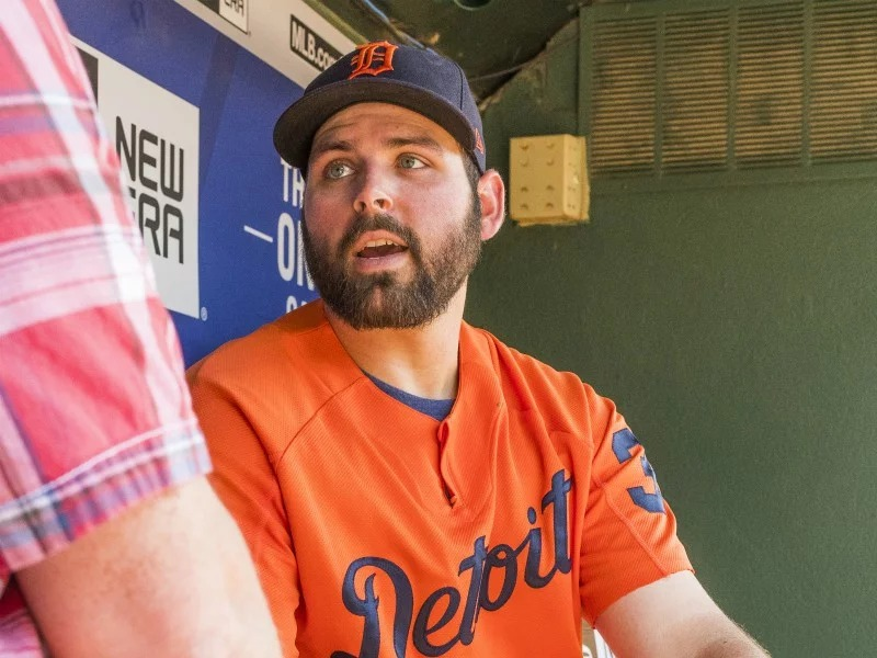 Detroit Tigers pitcher Michael Fulmer discusses his faith and how it influences his life decisions, such as working as a plumber in the offseason, in an interview with Religion News Service at Globe Life Park in Arlington, Texas, on Tuesday, May 8, 2018. RNS photo by Ron Hadfield